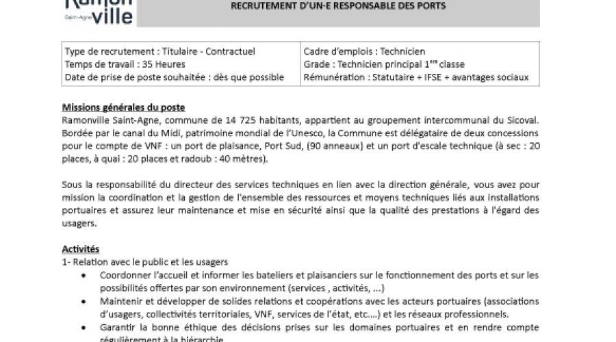 RECRUTEMENT : D'UN·E AGENT·E POLYVALENT PORTUAIRE