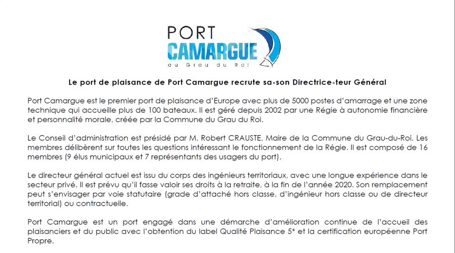 Annonce recrutement Directeur Port-Camargue