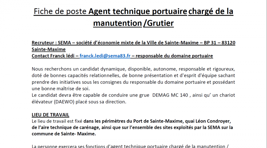 Annonce recrutement grutier Ste Maxime